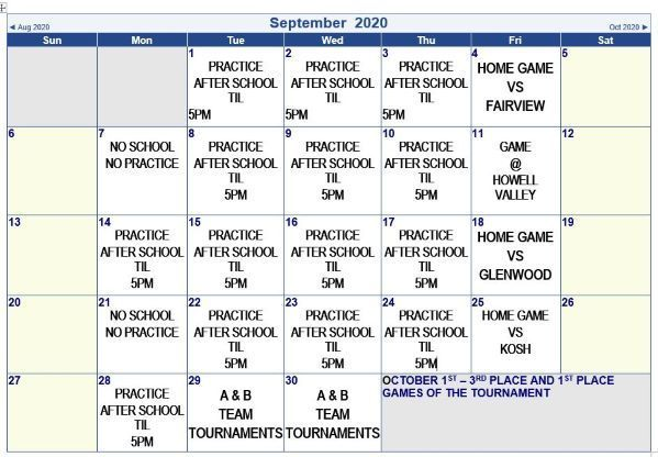 September Schedule 2020 baseball